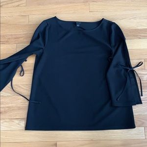 Ann Taylor black top with ties on the sleeve